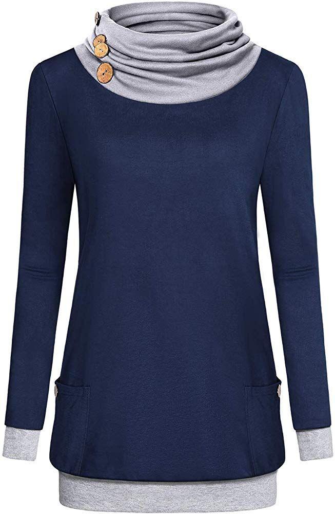 Quinee Tunic Sweatshirts for Women, Ladies Autumn Plus Size Cowl Neck Sweaters L…