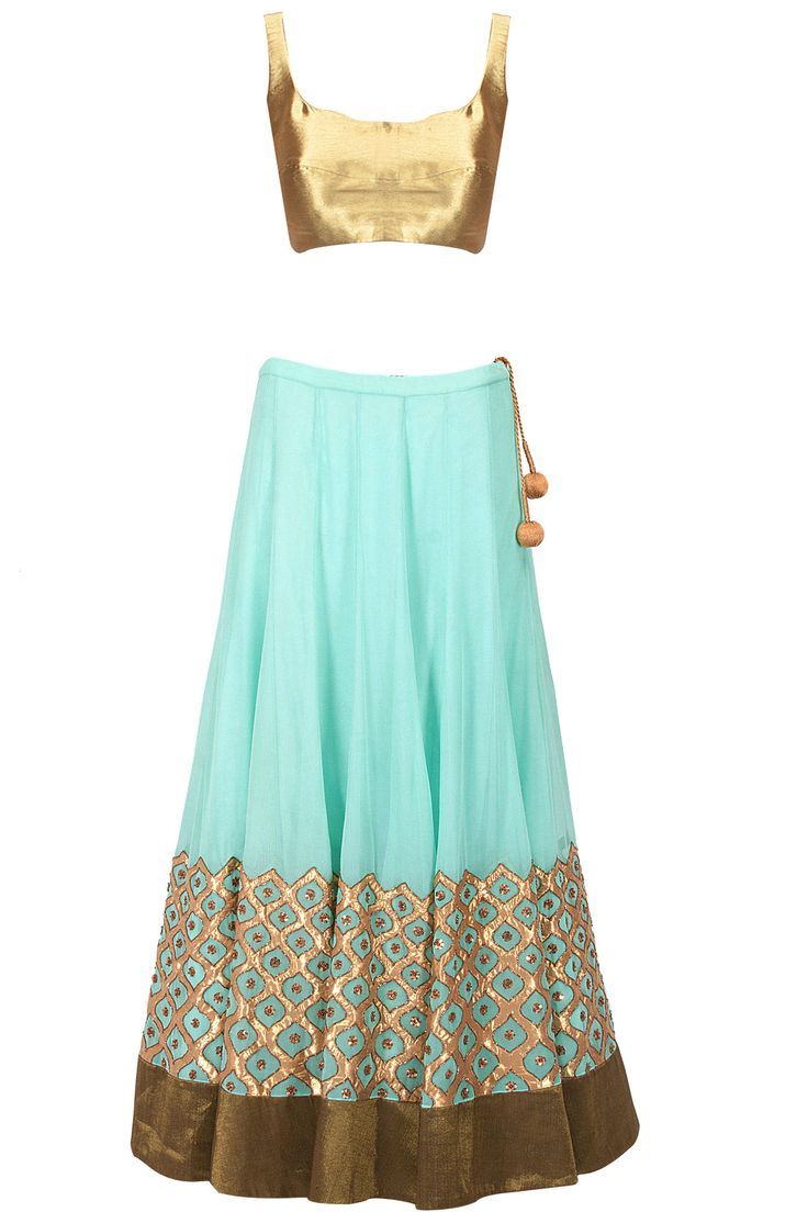 Turquoise blue sequin gota applique lehenga set available only at Pernia's Pop-Up Shop.