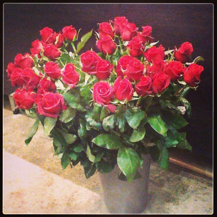 Red roses in as vase. www.fleurus.com.au