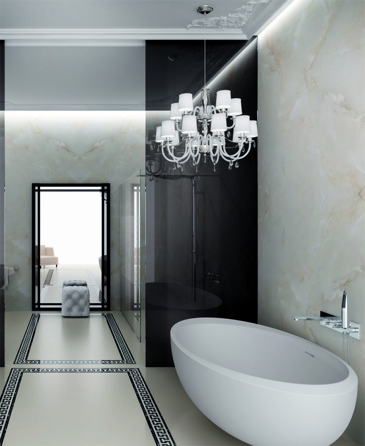 A bathroom suite #IBordi with a discreet charm where the Greek fretwork on the marble gravel floor contrast with the soft shades of marble. #Chicago #bathroomdesigns