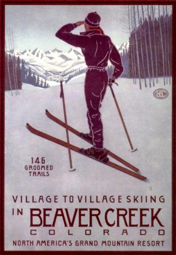 Vintage Ski Posters Colorado   BEAVER CREEK Colorado Vintage Ski Poster See original listing