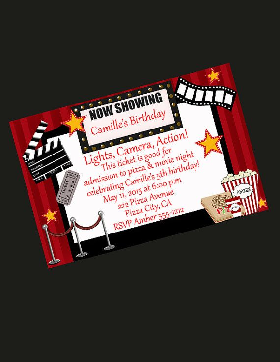 Movie Party Invitation/Movie Party/Pizza Birthday/Party Invitation/ Invite/Kids birthday/Slumber Party/ FreeThank you card