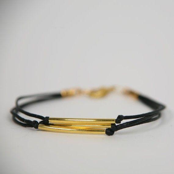 Triple Curved Gold Tube Bracelet