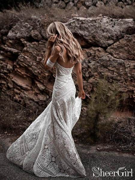 SheerGirlIvory Lace Beach Wedding Dresses Sweetheart Neck…