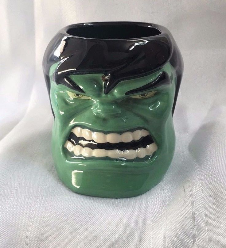 Disney Marvel Comics Incredible Hulk Head Three-dimensional Green Black Mug  #DisneyThemeParks