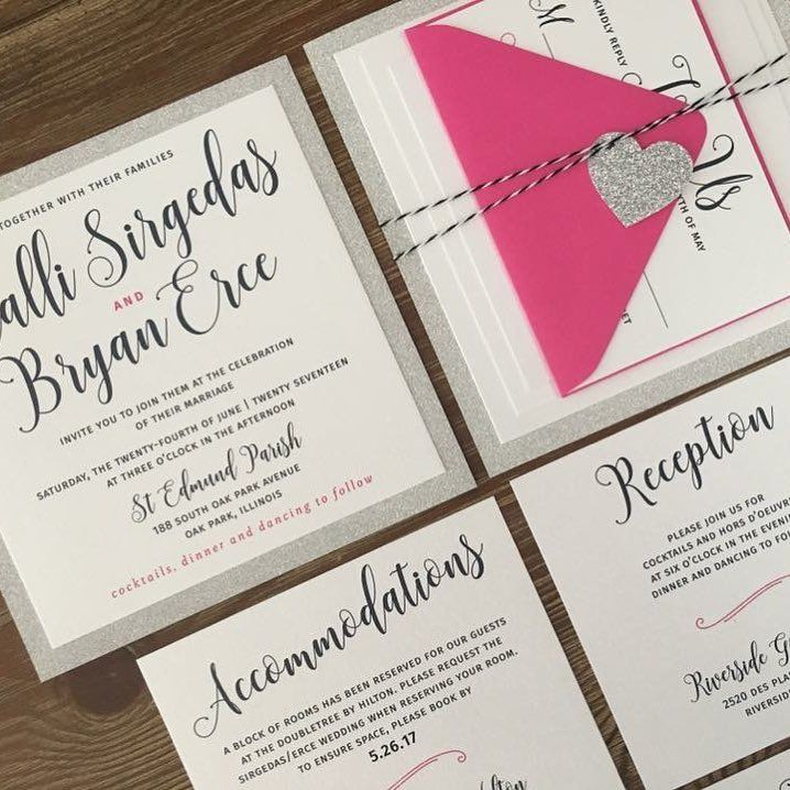 purple white silver wedding invitations%0A A modern script font  silver glitter and an envelope a bright pink color  named watermelon