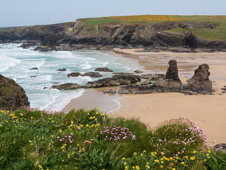 Low tide at Porthcothan, Cornwall, England by rdhphotos
