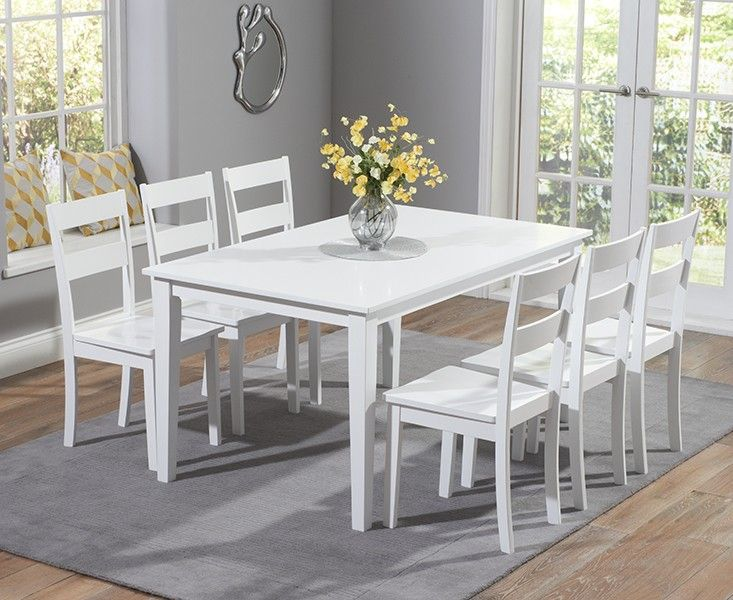 Chiltern 150cm White Dining Table Set With Chairs.