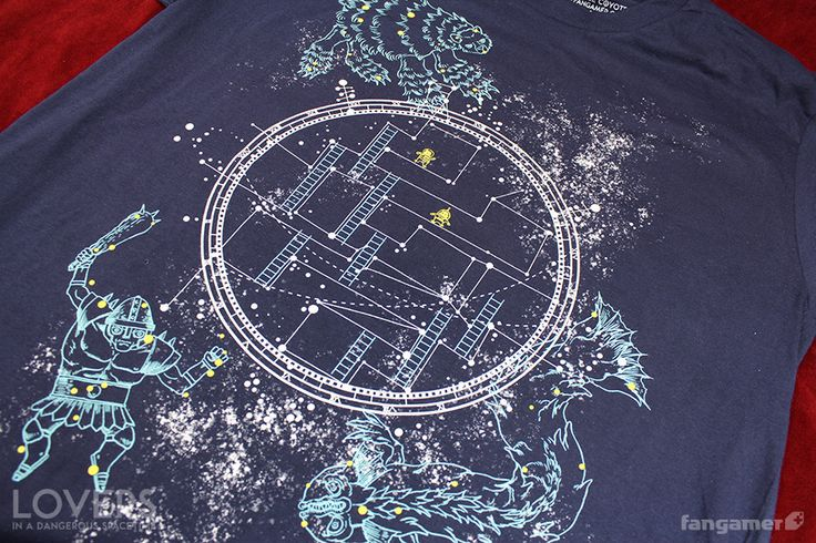 """Triumph over the forces of anti-loveand confuseastronomy majors with this official glow-in-the-dark Lovers in a Dangerous Spacetimeshirt.Designed by Nina Matsumotoand printed on soft 100%cotton shirts from American Apparel and District, each shirt comes with a free2.75"""" sticker.Getit with ourLovers in a Dangerous Spacetimeposter, """"Relation Ship,"""" and save $3!"""