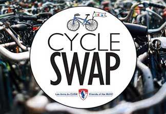 CycleSwap MUHC/Cycle Neron, dimanche 7 mai de 8h à 15h30 dans le stationnement du 5100 de Maisonneuve O, Collecte de fonds organisé par les Amis du CUSM et Cycle Neron.  Avez-vous dépassé votre ancien vélo, voulez-vous un autre type de vélo ou avez-vous un vélo à vendre? Vous pouvez acheter ou vendre un vélo! Vingt pour cent des recettes de la vente de tous les vélos ira vers l'amélioration du bien-être des patients du CUSM.  Plus d'informations sur Eventbrite.ca