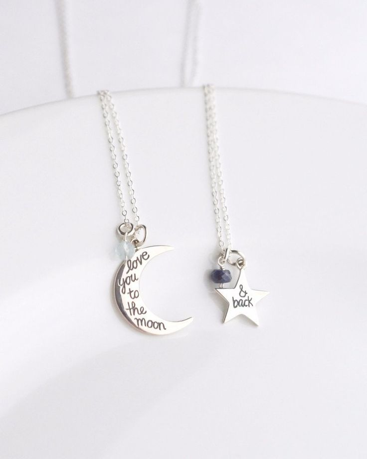 """Custom sterling silver necklaces set. This """"I love you to the moon and back"""" sterling silver necklaces is the perfect mother daughter necklace. Add a personal touch by adding birthstones."""