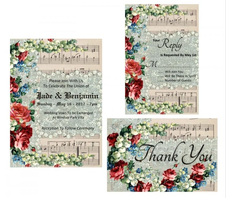 Wedding Invitation Printable Suite - Music Score Vintage Paper with Vintage Lace And Flower Overlay - Instant Digital Download