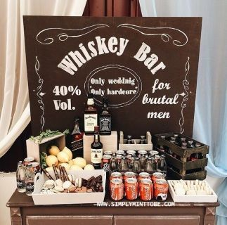 """Jack Daniels Inspired Whiskey Bar Chalkboard Poster Designs by Elle would love to create you """"Jack Daniels Inspired Whiskey Bar Chalkboard Poster"""" for your Themed Party!  This lovely do it yourself chalkboard graphic poster would be an AWESOME addition to your Jack Daniels Inspired Whiskey Bar!  Great idea for all events and occasions such as Bachelor Parties, Birthdays, Weddings and Corporate Events.   There is NO better way to serve your guest in style.    This would make a GREAT addition…"""