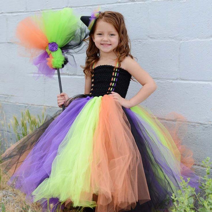 Girls Halloween Witch Costume Handmade Kids Tutu Dress for Halloween Cosplay Children Summer Autumn Dress TS090