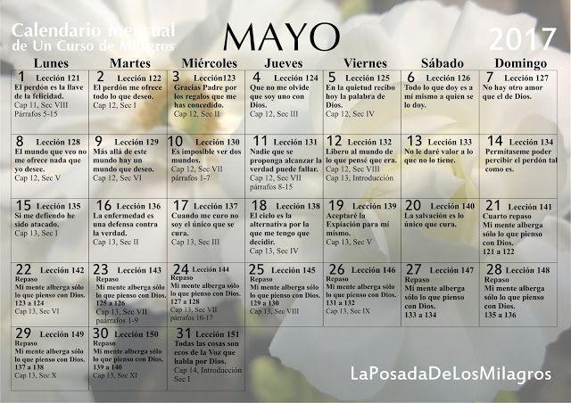 Un Curso de Milagros: Calendario mensual Un Curso de Milagros