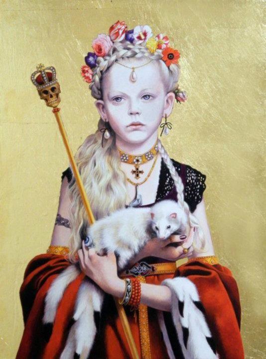 """Titti Garelli, """"Regine Gotiche"""" painting series: """"Regina Gotica con Ermelino"""", acrilico e foglia d'oro su tavola, cm. 30x40."""