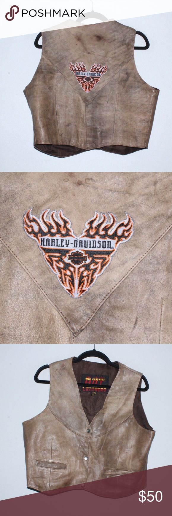 Vtg 90s Harley Davidson Motorcycle Leather Vest Vintage 90s Harley Davidson Motorcycle Leather Vest  Excellent jacket  Comes from a smoke-free household, marks on front and back  Brown  The size is 2XL and the measurements are 20.5 inches underarm to underarm and 22.5 inches top to bottom  Leather Check out my other items for sale!  L2 Harley-Davidson Jackets & Coats Vests