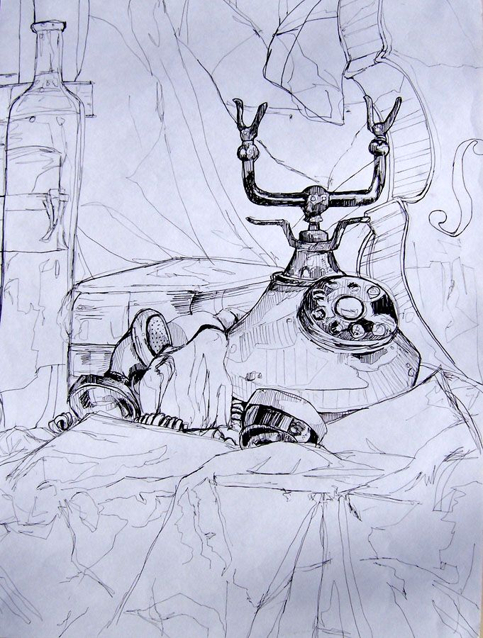 OBSERVATIONAL STILL LIFE: Emphasis through mark making. Good use of whole compositional surface. The artist has made a choice to develop one section of the drawing - pulling the viewers eye to the telephone.