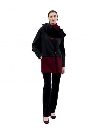 Colorblock Jacket, Dip-Dye Shawl and Straight Leg Pant