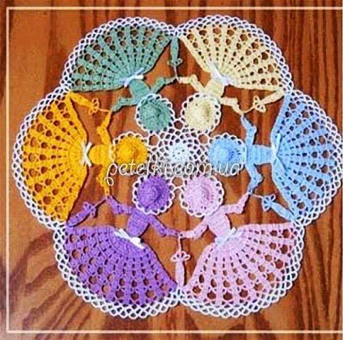Салфетки-куколки крючком. Схемы вязания