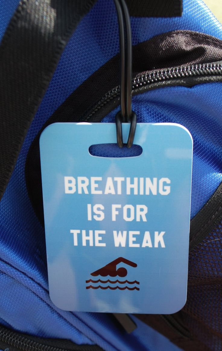 Breathing is for the Weak Swim Bag Tag Sport Bag by FlipTurnTags, $5.95