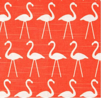 Fyn Flamingo Slub Salmon PO166. Screen printed on (approx. 6.8 ounce) cotton slub duck (slub cloth has a linen appearance), this versatile medium weight fabric is perfect for window accents (draperies, valances, curtains), accent pillows, bed skirts, duvet covers, slipcovers , upholstery and other home decor accents. Create handbags, tote bags, aprons and more. Colours include white and coral salmon. $32.99/m