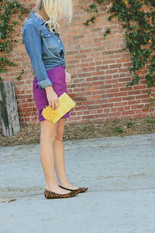 chambray and purple skirt