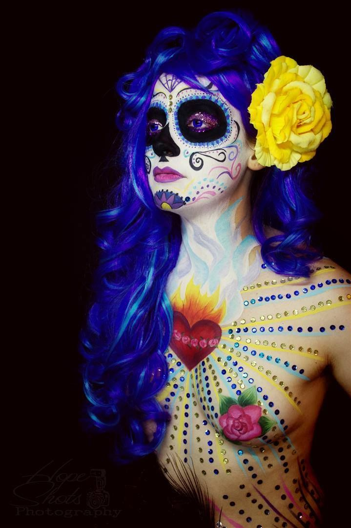 Hope Shots Photography Artist Unique Irish Model Megan S. Mother Maiden Sugar Skull Face painting
