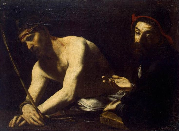 Battistello Caracciolo (1578–1635)  Christ and Caiaphas, 	between 1611 and 1620, oil on canvas, Dimensions:	Height: 73 cm (28.7 in). Width: 103 cm (40.6 in). Current location:	 Hermitage Museum