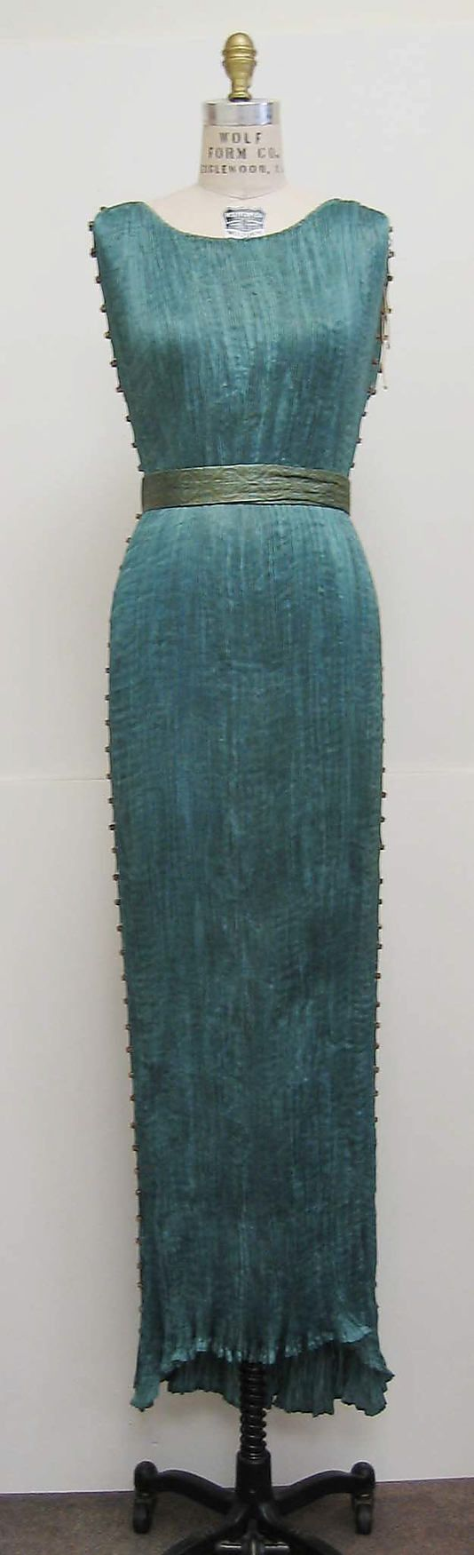 Fortuny Dress - c. 1932 - Fortuny  (Italian, founded 1906) - Design by Mariano Fortuny (Spanish, 1871-1949) - Silk, glass