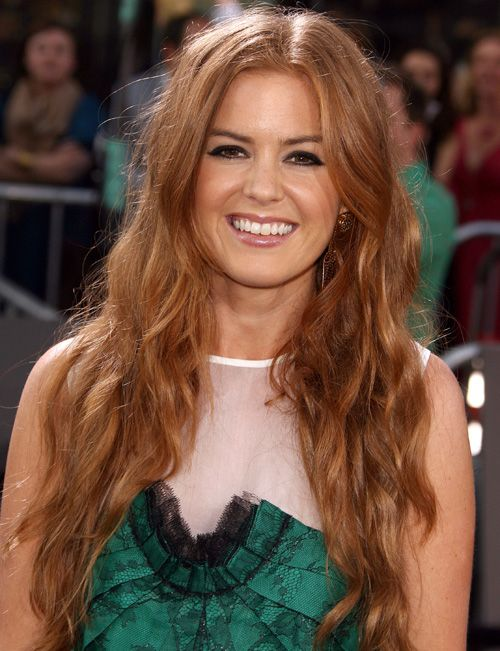 "Isla Fisher hair color:  Goldwell Topchic  Natural Level: 7/med blonde Regrowth: 1oz. Goldwell Topchic 8KG + 1oz. 20 volume developer. Midlengths/ends: 2oz. Goldwell Topchic 9KG + 2oz. 30 volume developer. Process about 45 mins, shampoo & dry. Highlight around the top & sides to create a lighter & brighter fringe. Lift strands, lighten with Goldwell ""Silk Lifter"" + Goldwell 20 volume developer (keep on till hair lifts to yellow color)."