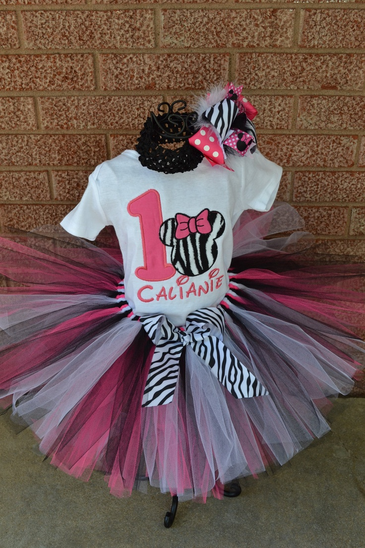 Minnie Mouse number and zebra Tutu Set----Infant on p--- Great for Birthdays, or Photography. $30.00, via Etsy.