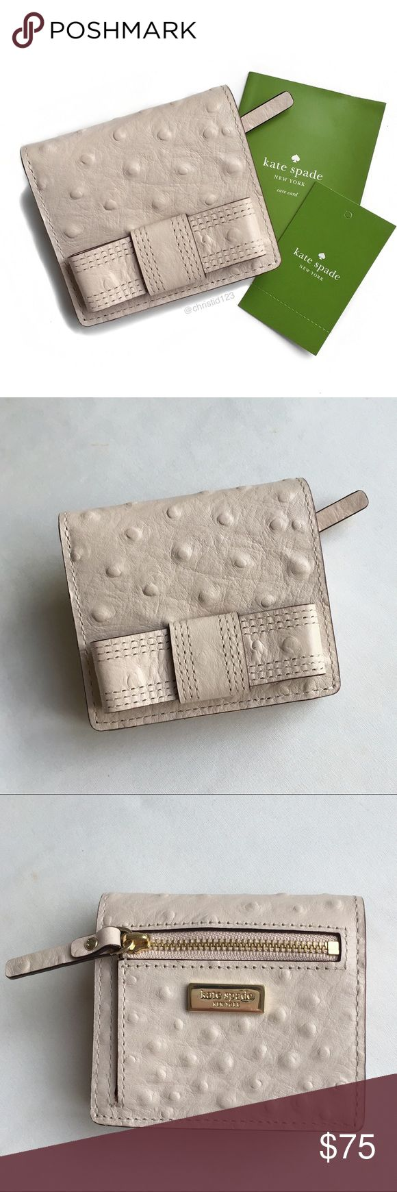 """Kate Spade Serenade Valencia Road Wallet Pebble color classic bow front wallet with 14kt yellow gold plated logo hardware.  Zip coin pocket on back.  Snap closure fold over style.  ID window with 4 card slot pockets inside.  Brand new with tags.  4""""W x 3.5""""H x 1""""D kate spade Bags Wallets"""