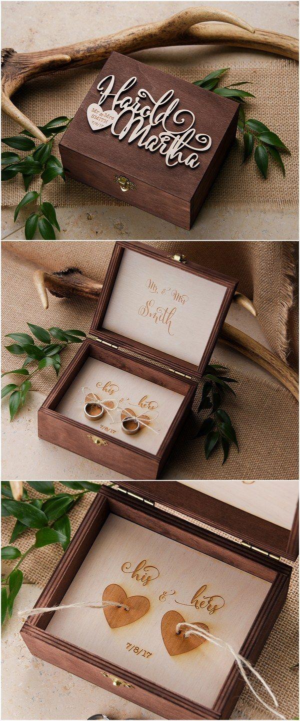 Rustic wood wedding ring box #rusticwedding #countrywedding #weddingideas …