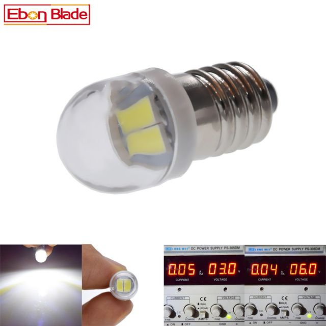 Pair E10 1447 Led Flashlight Bulb Lamp 3v 6v Led Bulb Replacement Flashlight Torch Bulb 3 Volt 6 Volt Screw Bulb Xenon White Led Bulb Led Flashlight Flashlight