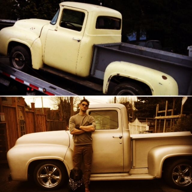 "Before and After – 1956 Ford Truck. Bob and Tron wearing Bullit Speed Shop gear – Bullit Safety Glasses, Tracker Sweatshirt & Bullit Bandana dust mask. Available at www.bullitspeedshop.com and Amazon.com (search Bullit with an ""i"") #1956 #1956ford #ford #fordtrucks #hotrod #restoration #vintage #old #safety #safetyglasses #bullit_speed_shop #truck #vintagetruck #oldtruck #mask #sweatshirt #stevemcqueen #amazon #greatescape"