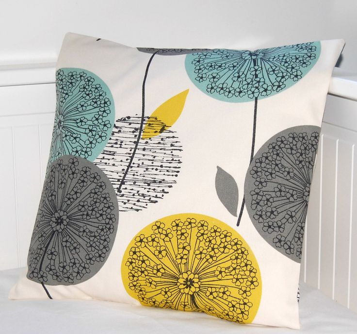teal grey mustard dandelion cushion cover, flower pillow cover 16 inch. £15.90, via Etsy.