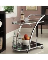 Chrome Metal with Black Tempered Glass Bar/ Wine/ Tea Serving Cart (Chrome Metal Black Glass X-Design Serving Cart)