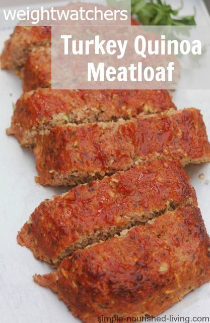 Weight Watchers Turkey Meatloaf Recipe with Quinoa and Zucchini. Easy. Healthy. Gluten Free. Delicious! 187 calories 5 WWPP #weightwatchers #recipes #glutenfree http://simple-nourished-living.com/2015/01/weight-watchers-turkey-meatloaf-with-quinoa-zucchini-recipe/
