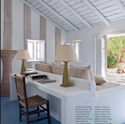 sofa table: Holiday, Interior, Sofa, Beach House, Summer House, Living Room, Habitually Chic, House, Desk
