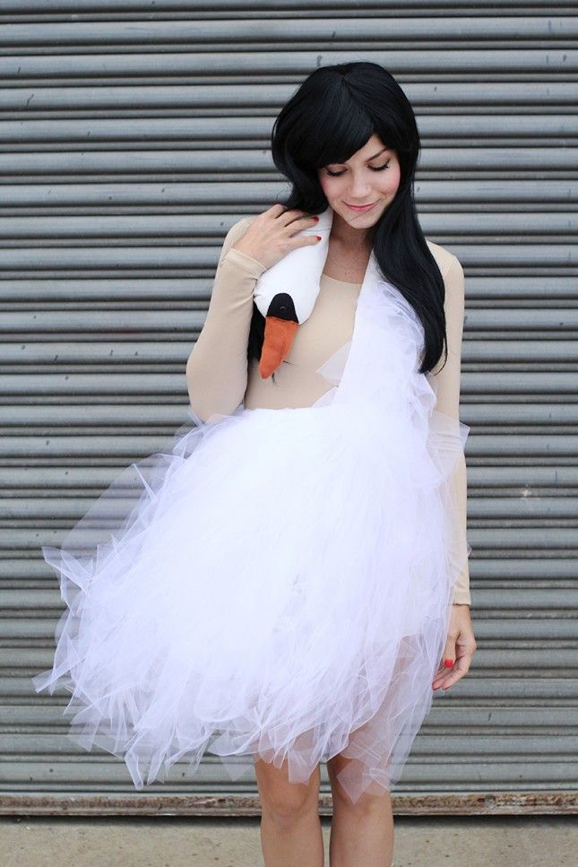 DIY a swan dress for Halloween with this tutorial.