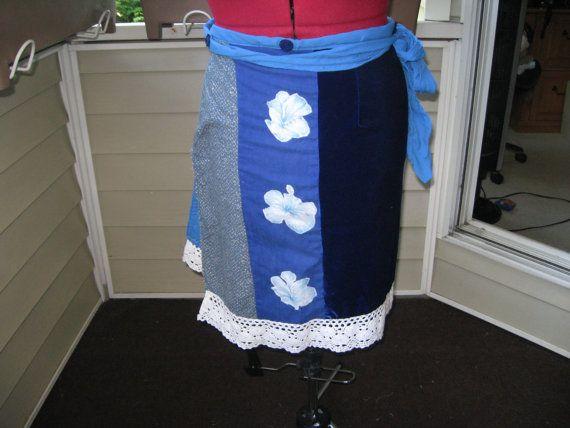 indigo blue wrap skirtappliqued flowerscotton by Voweco on Etsy