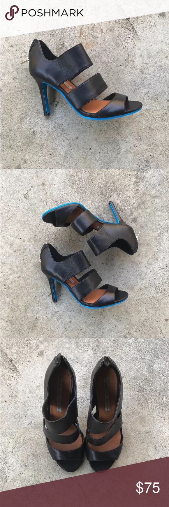 & Other Stories Heels & other stories black leather straps pumps/heels. These have an awesome blue bottom and the only wear seen is on the bottom. Size EU 7/US 7. & Other Stories Shoes Heels
