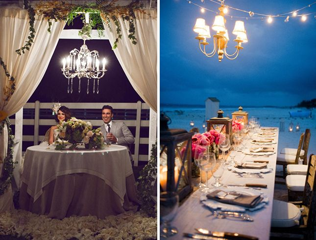 Use intricate chandeliers to decorate your outdoor venue.