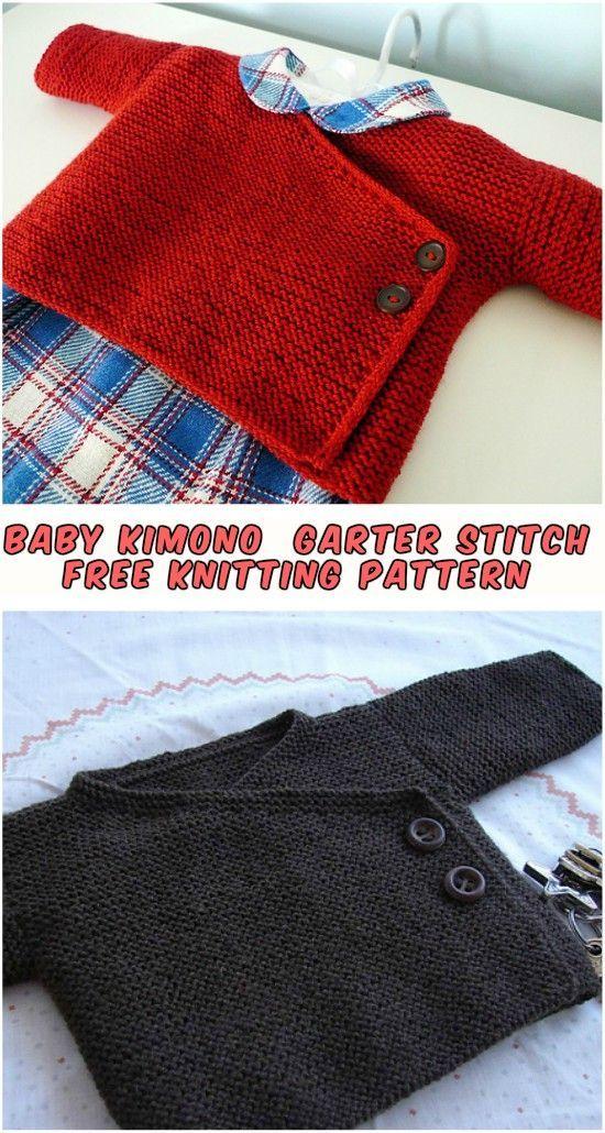 Baby Kimono - Knitting Garter Stitch - Free Pattern - STYLESIDEA