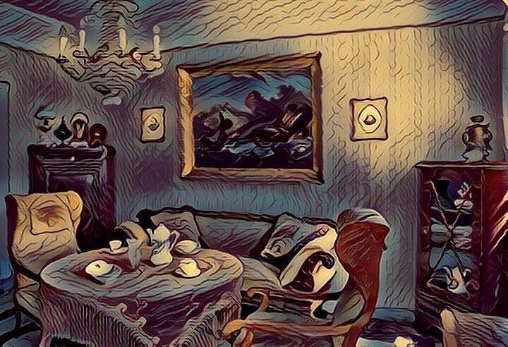 Old living room (Fauvism style). Sala de estar antigua (estilo Fauvismo). #livingroom #livingrooms #sala #salas #saladeestar #salasdeestar #old #vintage #art #arts #arte #artes #painting #paintings #paintwork #paintworks #pintura #pinturas #picture #pictures #fauvism #fauvismo