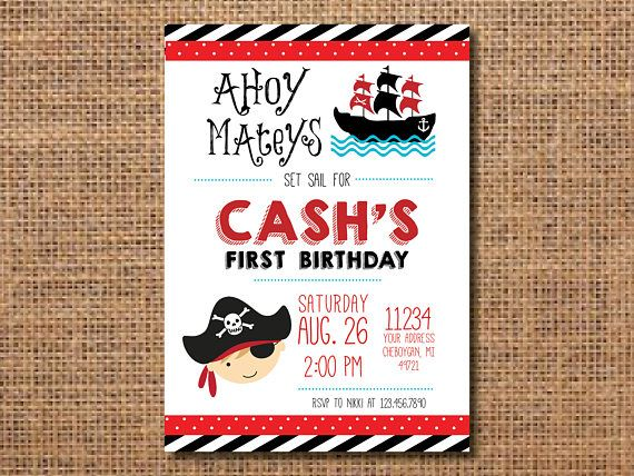Pirate Birthday Invitation, Pirate Theme Birthday Invitation, Pirate Invitation, First Birthday Invitation, Boy First Birthday Party, Pirate You will be emailed a high resolution file that is 5x7 and in jpeg form (unless otherwise specified). With the file youll be able to print or email the invitation to send to friends and family. You could print it from your home printer or through a professional service like Walgreens, Snapfish, Costco, etc. Other sizes are available upon request. HOW…