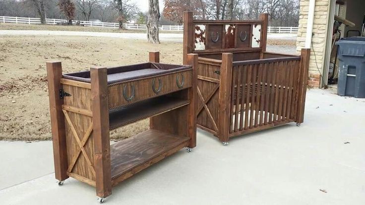Custom western baby crib and changing table nursery furniture by Marshall Woodworking  https://www.facebook.com/marshallwoodworking/
