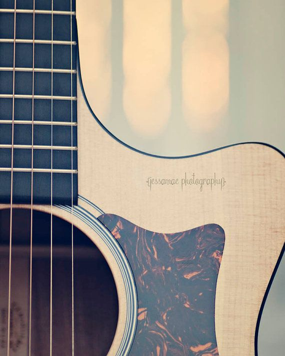 Guitar Photography - Martin - Brown Tan Gray Dreamy Acoustic Guitar Photography Print Music Instrument Wood Acoustic Guitar Strings Art