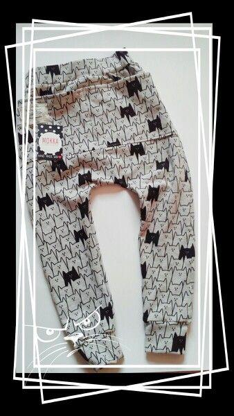 Cat pattern. Unisex Baggy pants for kids by Mokka Fabrykka.
